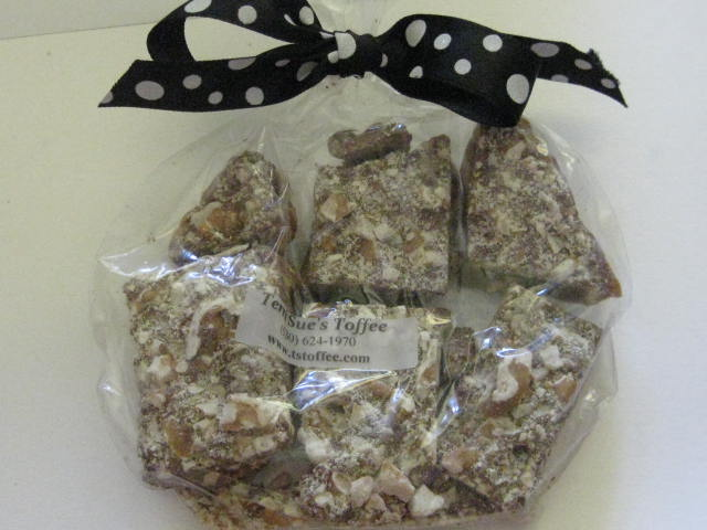 English Toffee 3.5 oz.  Treat  Bag-3.5. ounce English Toffee, quarter pound english toffee, World's Best English Toffee, one quarter pound of english toffee, english toffee snack pack, snack pack